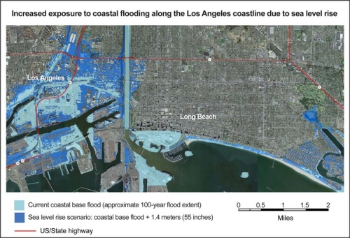 Increased exposure to coastal flooding along the Los Angeles coastline due to sea level rise