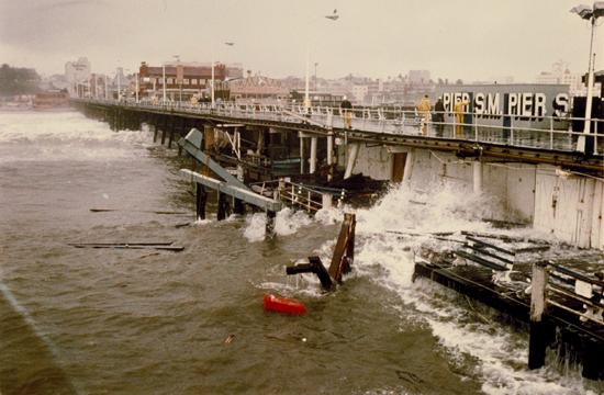 Two violent storms in 1983 destroyed over a third of the Santa Monica Pier.