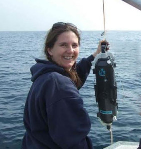 Anita Leinweber on board the R/V Seaworld.