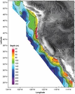 Distribution of the depths of the undersaturated water (aragonite saturation < 1.0; pH < 7.75) on the continental shelf of western North America from Queen Charlotte Sound, Canada, to San Gregorio Baja California Sur, Mexico. On transect line 5, the corrosive water reaches all the way to the surface in the inshore waters near the coast. The black dots represent station locations.
