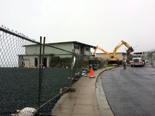 330 Esplanade was leveled in December 2015, before cliff erosion progressed to the point that the rear of the building could collapse down to the beach below. The site was cleared down to its cement foundation, covered in heavy black plastic, filled in with small rocks and fenced off.